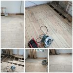 Floor sanding and replacing pine floor boards