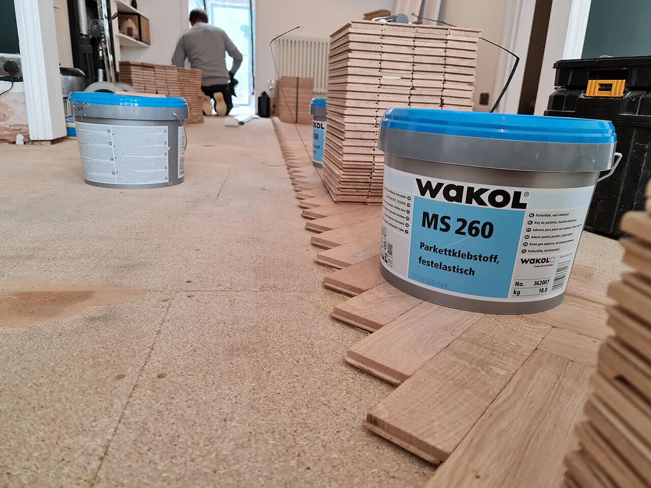 Rustic herringbone solid parquet wood floor Southend
